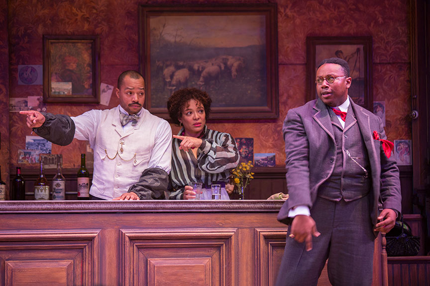 (from left) Donald Faison as Freddy, Luna Veléz as Germaine, and Marcel Spears as Charles Dabernow Schmendiman in Picasso at the Lapin Agile, by Steve Martin, directed by Barry Edelstein, running February 4 - March 12, 2017 at The Old Globe. Photo by Jim Cox.