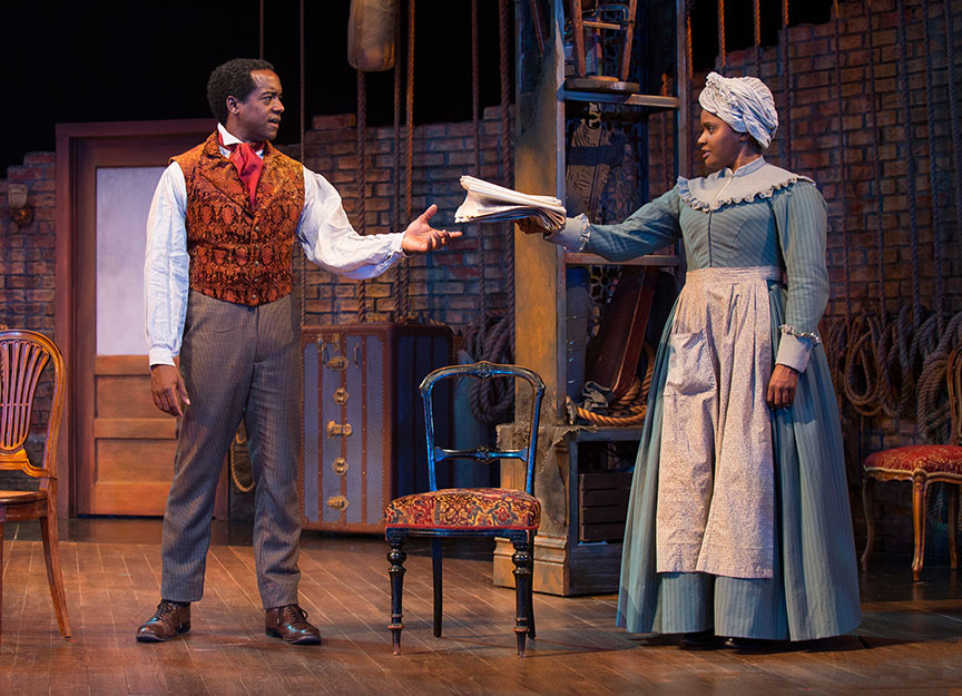 Albert Jones as Ira Aldridge and Monique Gaffney as Connie in Lolita Chakrabarti's Red Velvet, directed by Stafford Arima, running March 25 – April 30, 2017 at The Old Globe. Photo by Jim Cox.