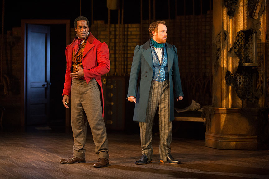 (from left) Albert Jones as Ira Aldridge and Sean Dugan as Pierre Laporte in Lolita Chakrabarti's Red Velvet, directed by Stafford Arima, running March 25 – April 30, 2017 at The Old Globe. Photo by Jim Cox.
