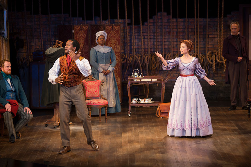 (from left) Sean Dugan as Pierre Laporte, Albert Jones as Ira Aldridge, Monique Gaffney as Connie, Allison Mack as Ellen Tree, and Mark Pinter as Bernard Warde in Lolita Chakrabarti's Red Velvet, directed by Stafford Arima, running March 25 – April 30, 2017 at The Old Globe. Photo by Jim Cox.