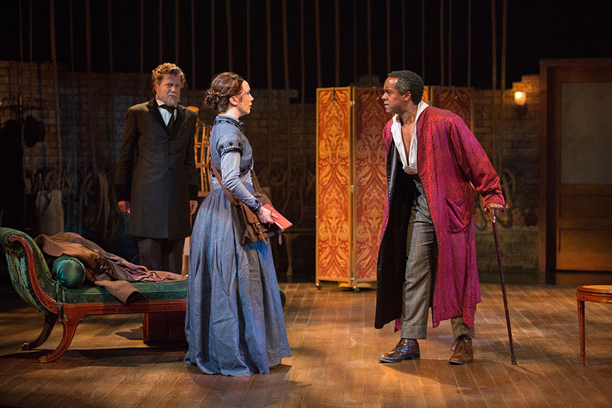 (from left) Mark Pinter as Terence, Amelia Pedlow as Halina Wozniak, and Albert Jones as Ira Aldridge in Lolita Chakrabarti's Red Velvet, directed by Stafford Arima, running March 25 – April 30, 2017 at The Old Globe. Photo by Jim Cox.