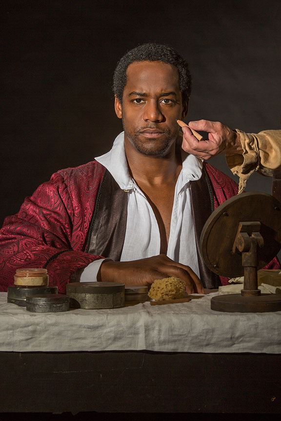Albert Jones appears as Ira Aldridge in Lolita Chakrabarti's Red Velvet, directed by Stafford Arima, running March 25 – April 30, 2017 at The Old Globe. Photo by Jim Cox.