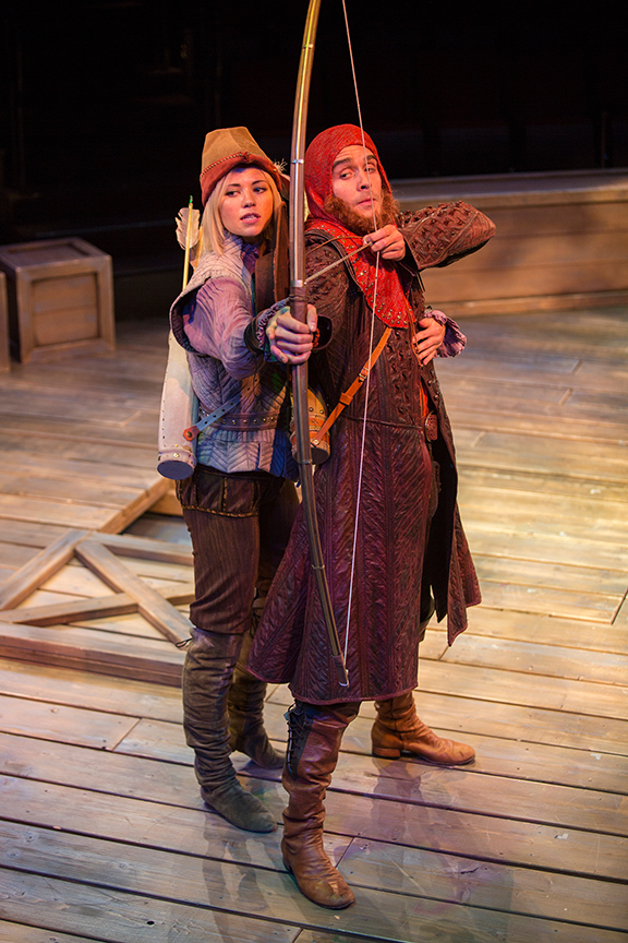 Meredith Garretson as Maid Marian and Daniel Reece as Robin Hood in the Globe-commissioned world premiere of Ken Ludwig's Robin Hood!, running July 22 - August 27, 2017 at The Old Globe. Photo by Jim Cox.