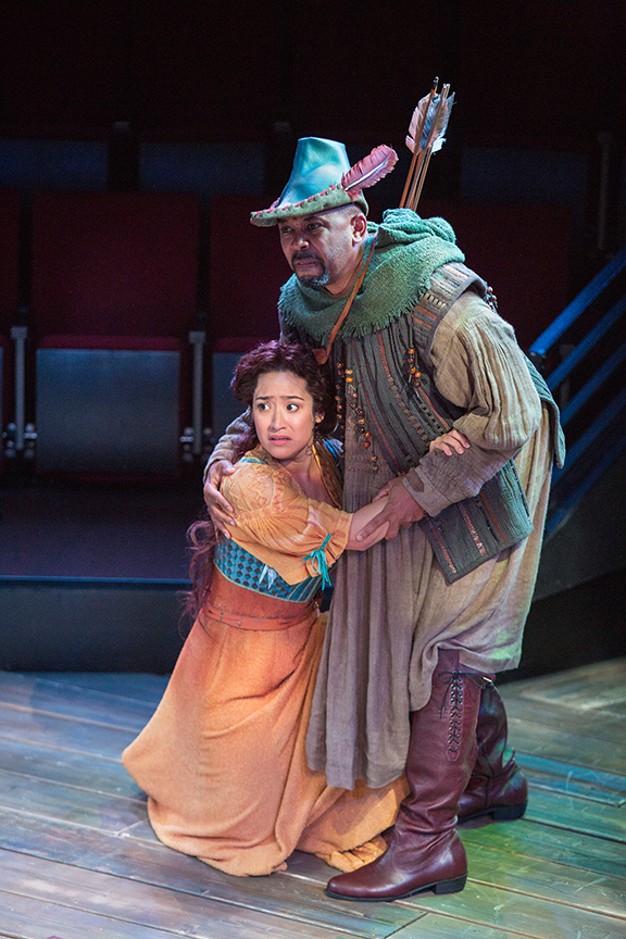Suzelle Palacios as Doerwynn and Michael Boatman as Much the Miller in the Globe-commissioned world premiere of Ken Ludwig's Robin Hood!, running July 22 - August 27, 2017 at The Old Globe. Photo by Jim Cox.