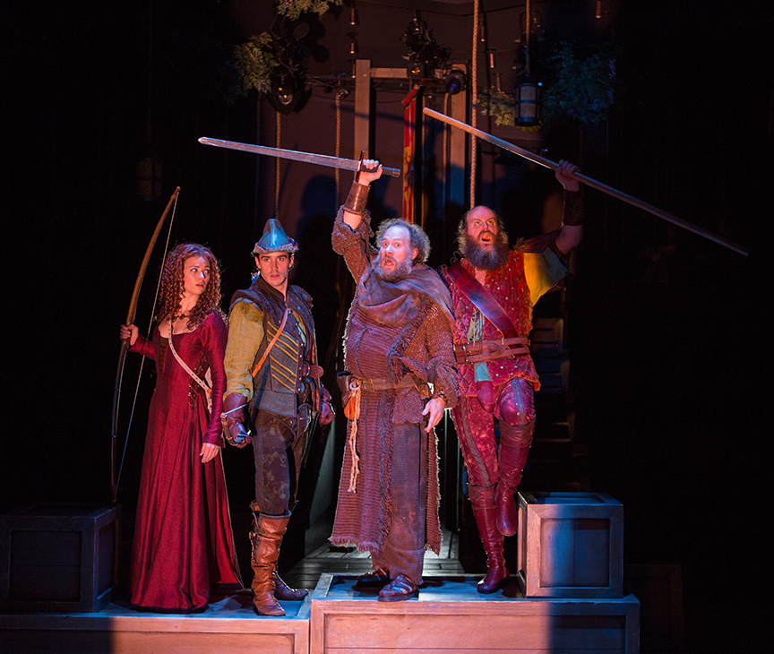 (from left) Meredith Garretson as Main Marian, Daniel Reece as Robin Hood, Andy Grotelueschen as Friar Tuck, and Paul Whitty as Little John in the Globe-commissioned world premiere of Ken Ludwig's Robin Hood!, running July 22 - August 27, 2017 at The Old Globe. Photo by Jim Cox.