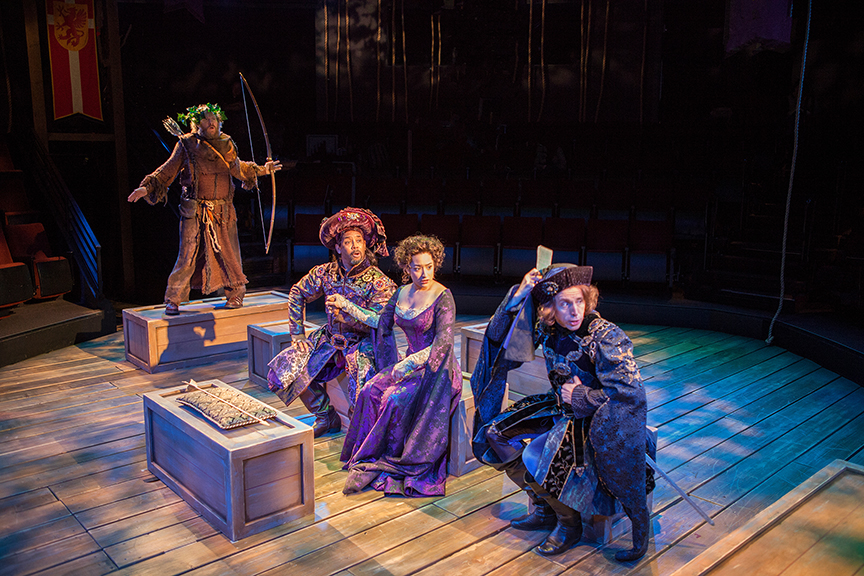 (from left) Andy Grotelueschen as Friar Tuck, Michael Boatman as Prince John, Suzelle Palacios as Doerwynn, and Kevin Cahoon as The Sheriff of Nottingham in the Globe-commissioned world premiere of Ken Ludwig's Robin Hood!, running July 22 - August 27, 2017 at The Old Globe. Photo by Jim Cox.