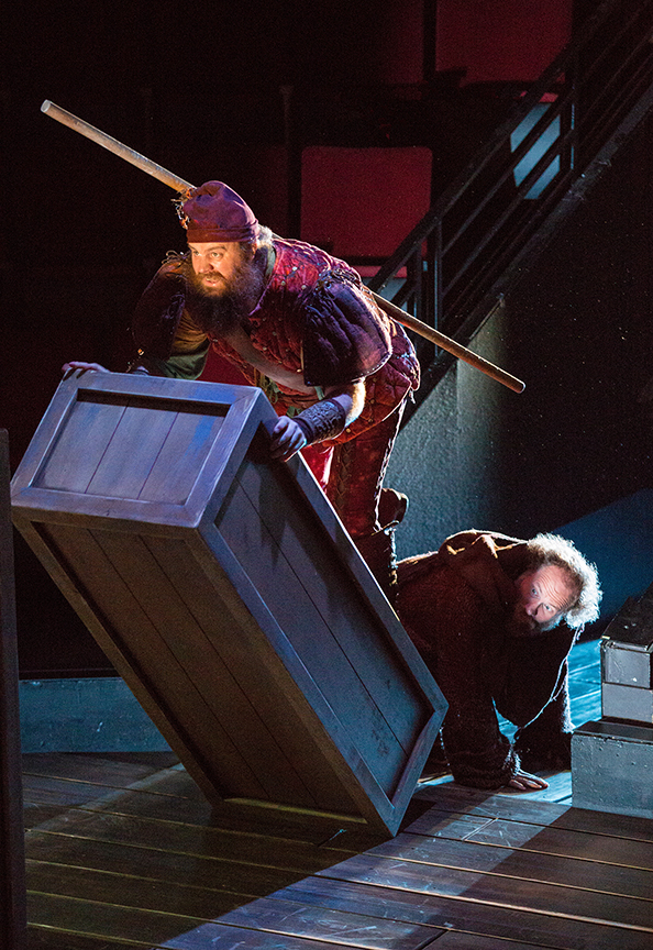 (from left) Paul Whitty as Little John and Andy Grotelueschen as Friar Tuck in the Globe-commissioned world premiere of Ken Ludwig's Robin Hood!, running July 22 - August 27, 2017 at The Old Globe. Photo by Jim Cox.