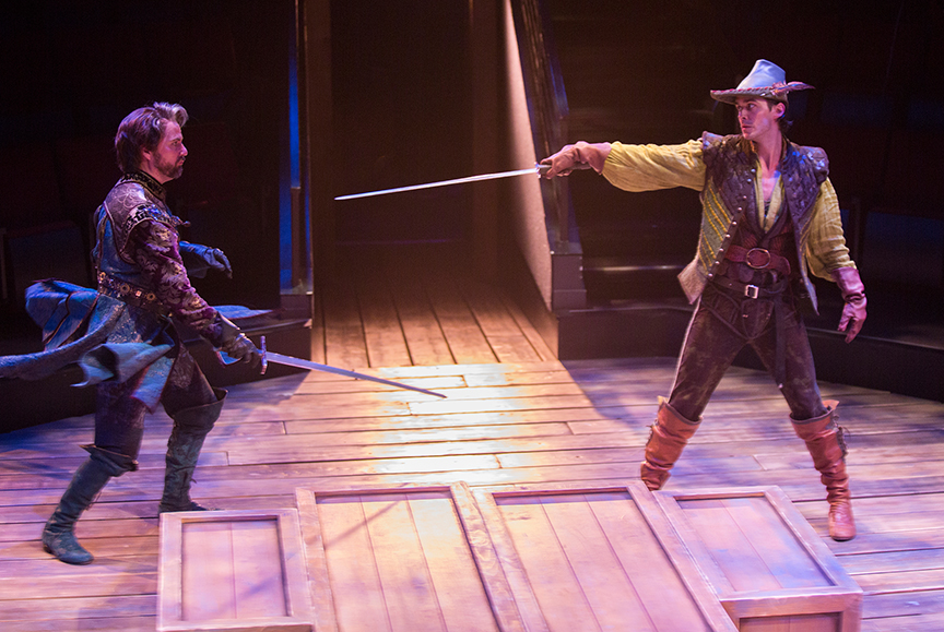 (from left) Manoel Felciano as Sir Guy of Gisbourne and Daniel Reece as Robin Hood in the Globe-commissioned world premiere of Ken Ludwig's Robin Hood!, running July 22 - August 27, 2017 at The Old Globe. Photo by Jim Cox.
