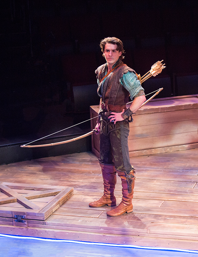 Daniel Reece as Robin Hood in the Globe-commissioned world premiere of Ken Ludwig's Robin Hood!, running July 22 - August 27, 2017 at The Old Globe. Photo by Jim Cox.