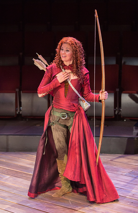 Meredith Garretson appears as Maid Marian in the Globe-commissioned world premiere of Ken Ludwig's Robin Hood!, running July 22 - August 27, 2017 at The Old Globe. Photo by Jim Cox.
