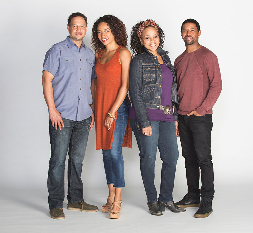 (from left) Brian Marable appears as Reggie, Rachel Nicks as Shanita, Tonye Patano as Faye, and Amari Cheatom as Dez in Dominique Morisseau's Skeleton Crew, directed by Delicia Turner Sonnenberg, in association with MOXIE Theatre, running April 8 – May 7, 2017 at The Old Globe. Photo by Jim Cox.