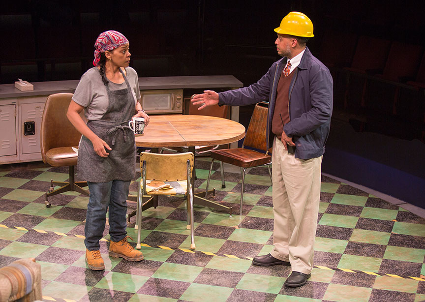 Tonye Patano as Faye and Brian Marable as Reggie in Dominique Morisseau's Skeleton Crew, directed by Delicia Turner Sonnenberg, in association with MOXIE Theatre, running April 8 – May 7, 2017 at The Old Globe. Photo by Jim Cox.
