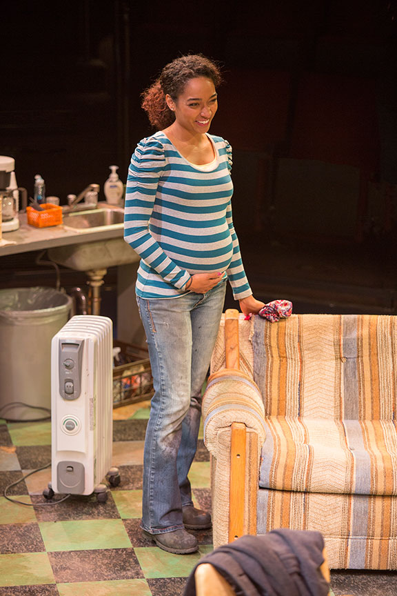 Rachel Nicks as Shanita in Dominique Morisseau's Skeleton Crew, directed by Delicia Turner Sonnenberg, in association with MOXIE Theatre, running April 8 – May 7, 2017 at The Old Globe. Photo by Jim Cox.