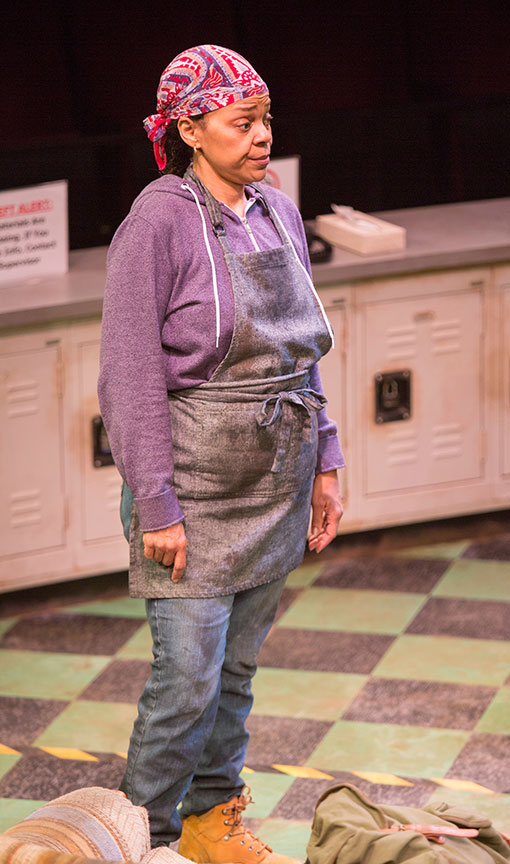 Tonye Patano as Faye in Dominique Morisseau's Skeleton Crew, directed by Delicia Turner Sonnenberg, in association with MOXIE Theatre, running April 8 – May 7, 2017 at The Old Globe. Photo by Jim Cox.