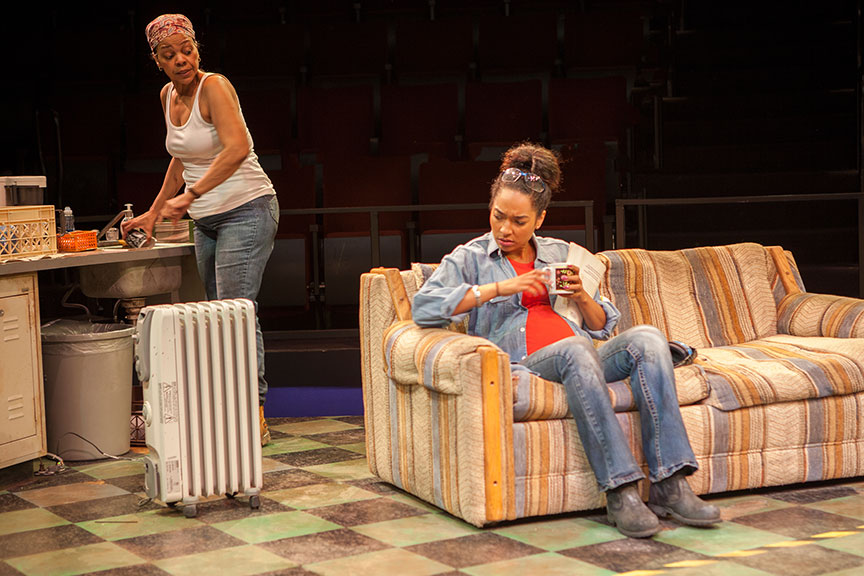 (from left) Tonye Patano as Faye and Rachel Nicks as Shanita in Dominique Morisseau's Skeleton Crew, directed by Delicia Turner Sonnenberg, in association with MOXIE Theatre, running April 8 – May 7, 2017 at The Old Globe. Photo by Jim Cox.
