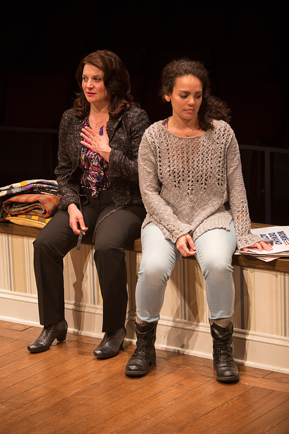 (from left) Antoinette LaVecchia as Diana Garcia and Nataysha Rey as Theresa Garcia in the world premiere of The Blameless, by Nick Gandiello, directed by Gaye Taylor Upchurch, running February 23 - March 26, 2017 at The Old Globe. Photo by Jim Cox.