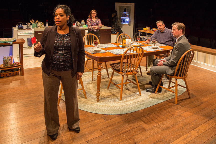 (from left) Liza Colón-Zayas as Amanda Garcia, Antoinette LaVecchia as Diana Garcia, Frank Pando as Alex Garcia, and Stephen Barker Turner as Drew Davis in the world premiere of The Blameless, by Nick Gandiello, directed by Gaye Taylor Upchurch, running February 23 - March 26, 2017 at The Old Globe. Photo by Jim Cox.