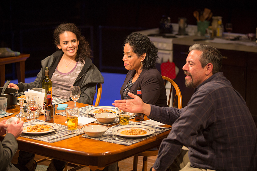 (from left) Nataysha Rey as Theresa Garcia, Liza Colón-Zayas as Amanda Garcia, and Frank Pando as Alex Garcia in the world premiere of The Blameless, by Nick Gandiello, directed by Gaye Taylor Upchurch, running February 23 - March 26, 2017 at The Old Globe. Photo by Jim Cox.