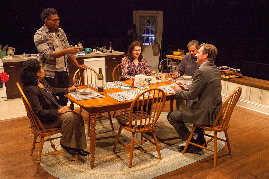 (from left) Liza Colón-Zayas as Amanda Garcia, Amara James Aja as Howard Harper, Antoinette LaVecchia as Diana Garcia, Frank Pando as Alex Garcia, and Stephen Barker Turner as Drew Davis in the world premiere of The Blameless, by Nick Gandiello, directed by Gaye Taylor Upchurch, running February 23 - March 26, 2017 at The Old Globe. Photo by Jim Cox.
