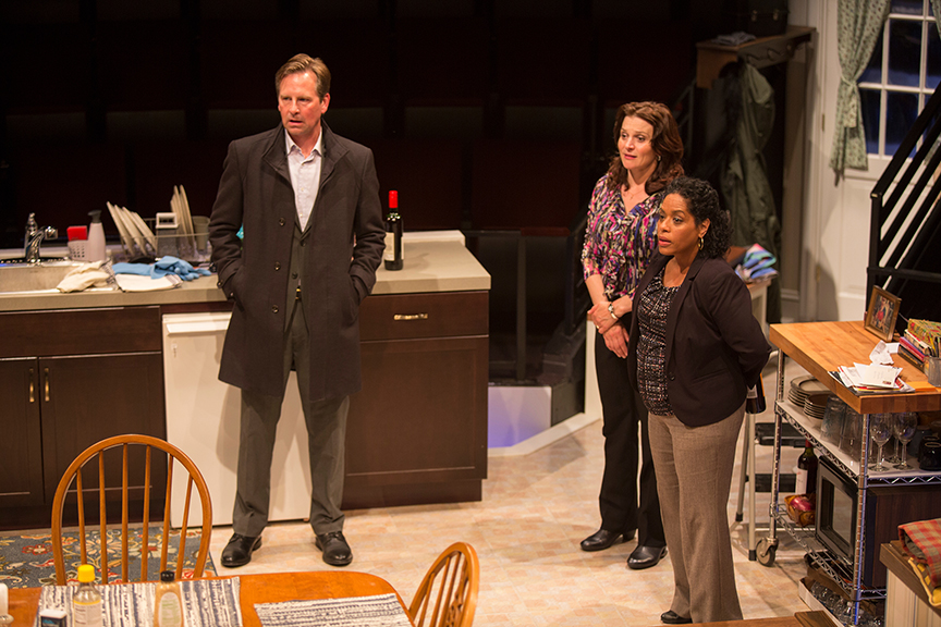 (from left) Stephen Barker Turner as Drew Davis, Antoinette LaVecchia as Diana Garcia, and Liza Colón-Zayas as Amanda Garcia in the world premiere of The Blameless, by Nick Gandiello, directed by Gaye Taylor Upchurch, running February 23 - March 26, 2017 at The Old Globe. Photo by Jim Cox.