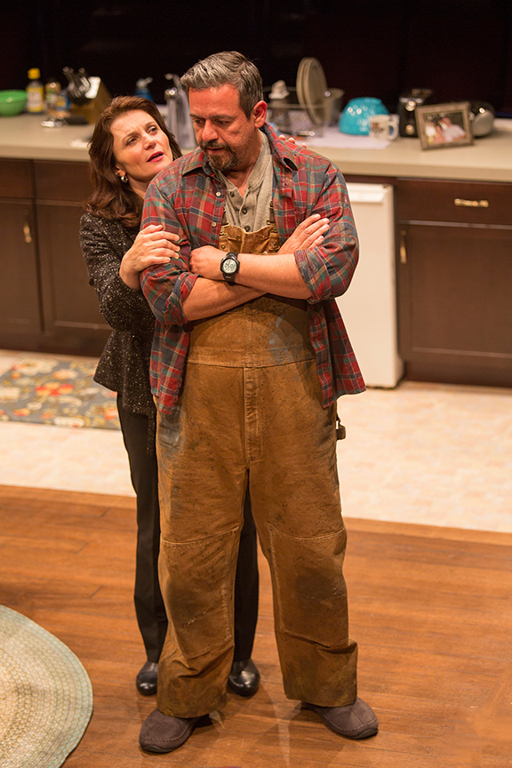 Antoinette LaVecchia as Diana Garcia and Frank Pando as Alex Garcia in the world premiere of The Blameless, by Nick Gandiello, directed by Gaye Taylor Upchurch, running February 23 - March 26, 2017 at The Old Globe. Photo by Jim Cox.
