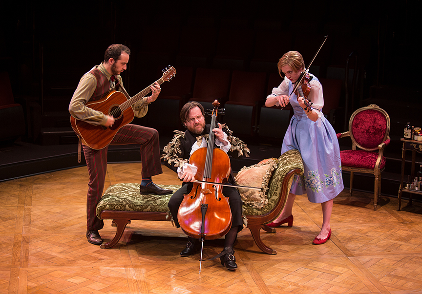 (from left) Kevin Hafso-Koppman appears as Cléante, Paul L. Coffey as Thomas Diafoirus, and Jane Pfitsch as Angélique in the world premiere adaptation of Molière's The Imaginary Invalid, adapted by Fiasco Theater, running May 27 – June 25, 2017 at The Old Globe. Photo by Jim Cox.
