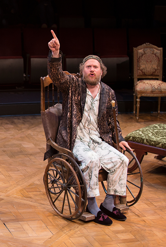 Andy Grotelueschen as Argan in the world premiere adaptation of Molière's The Imaginary Invalid, adapted by Fiasco Theater, running May 27 – June 25, 2017 at The Old Globe. Photo by Jim Cox.