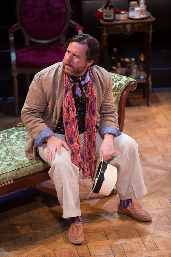 Paul L. Coffey appears as M. de Bonnefoi in the world premiere adaptation of Molière's The Imaginary Invalid, adapted by Fiasco Theater, running May 27 – June 25, 2017 at The Old Globe. Photo by Jim Cox.