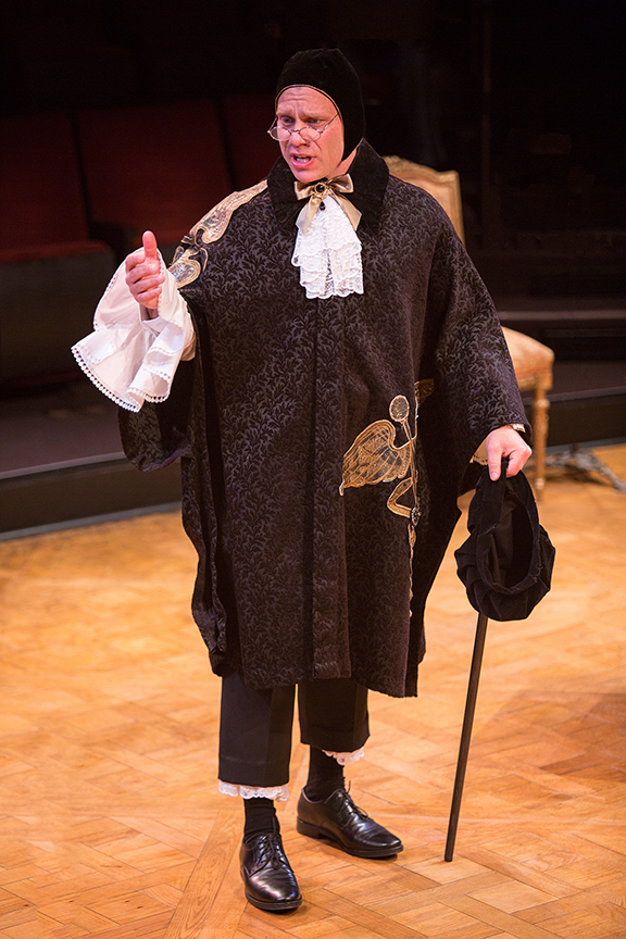 Noah Brody appears as Dr. Diafoirus in the world premiere adaptation of Molière's The Imaginary Invalid, adapted by Fiasco Theater, running May 27 – June 25, 2017 at The Old Globe. Photo by Jim Cox.