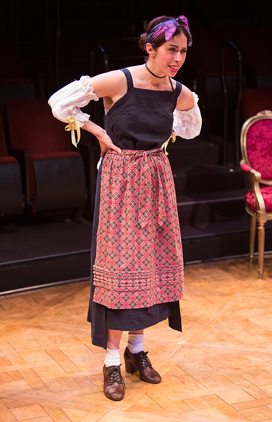 Emily Young as Toinette in the world premiere adaptation of Molière's The Imaginary Invalid, adapted by Fiasco Theater, running May 27 – June 25, 2017 at The Old Globe. Photo by Jim Cox.