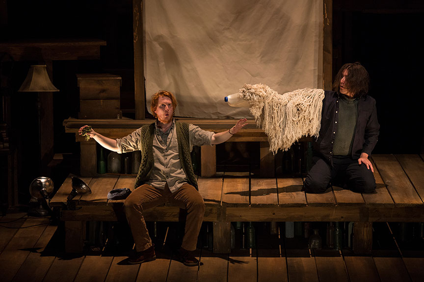 (from left) Ryan Melia and Dan Weschler of PigPen Theatre Co.'s The Old Man and The Old Moon. Directed by Stuart Carden and PigPen Theatre Co., the show's West Coast premiere runs at May 13 – June 18, 2017 at The Old Globe. Photo by Jim Cox.