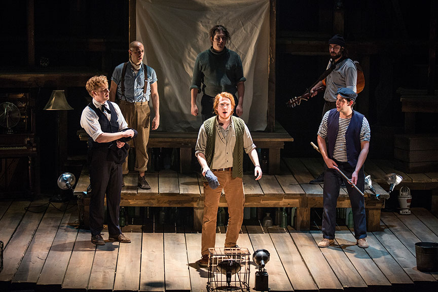 The cast of PigPen Theatre Co.'s The Old Man and The Old Moon. Directed by Stuart Carden and PigPen Theatre Co., the show's West Coast premiere runs at May 13 – June 18, 2017 at The Old Globe. Photo by Jim Cox.
