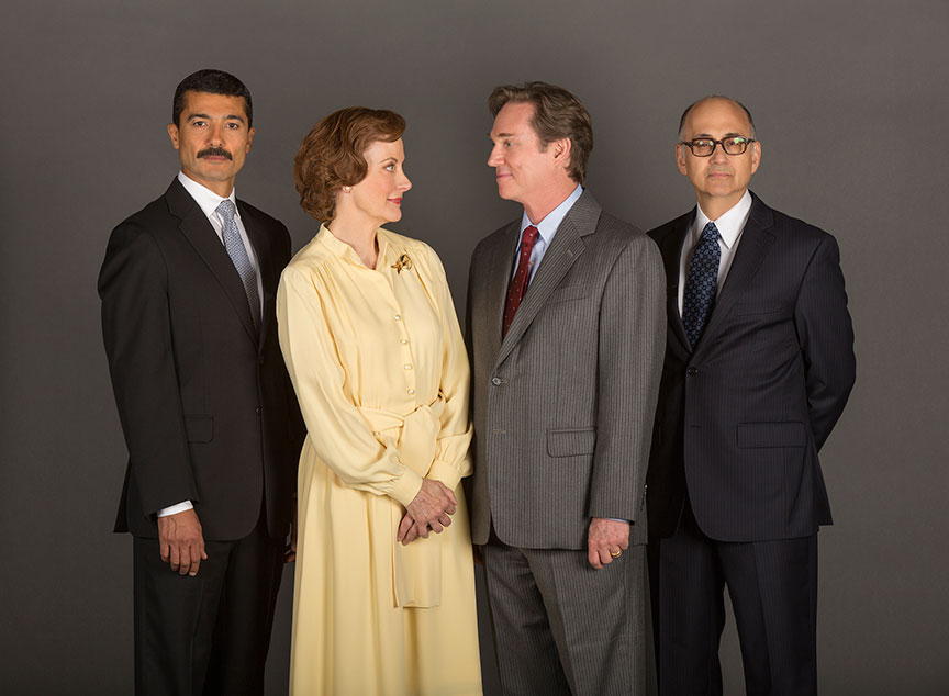 Khaled Nabawy as Anwar Sadat, Hallie Foote as Rosalynn Carter, Richard Thomas as Jimmy Carter, and Ned Eisenberg as Menachem Begin