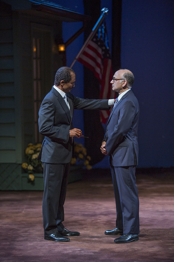 Khaled Nabawy as Anwar Sadat and Ned Eisenberg as Menachem Begin