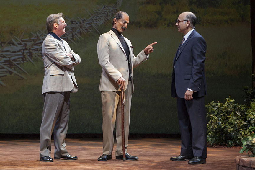 Richard Thomas as Jimmy Carter, Khaled Nabawy as Anwar Sadat, and Ned Eisenberg as Menachem Begin