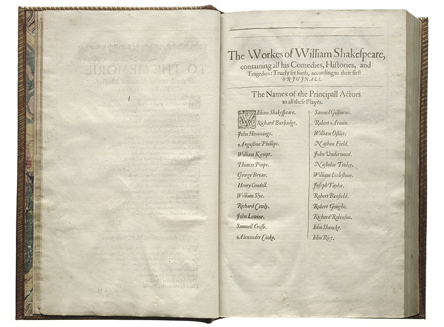 List of Actors. Credit: Shakespeare First Folio, 1623.