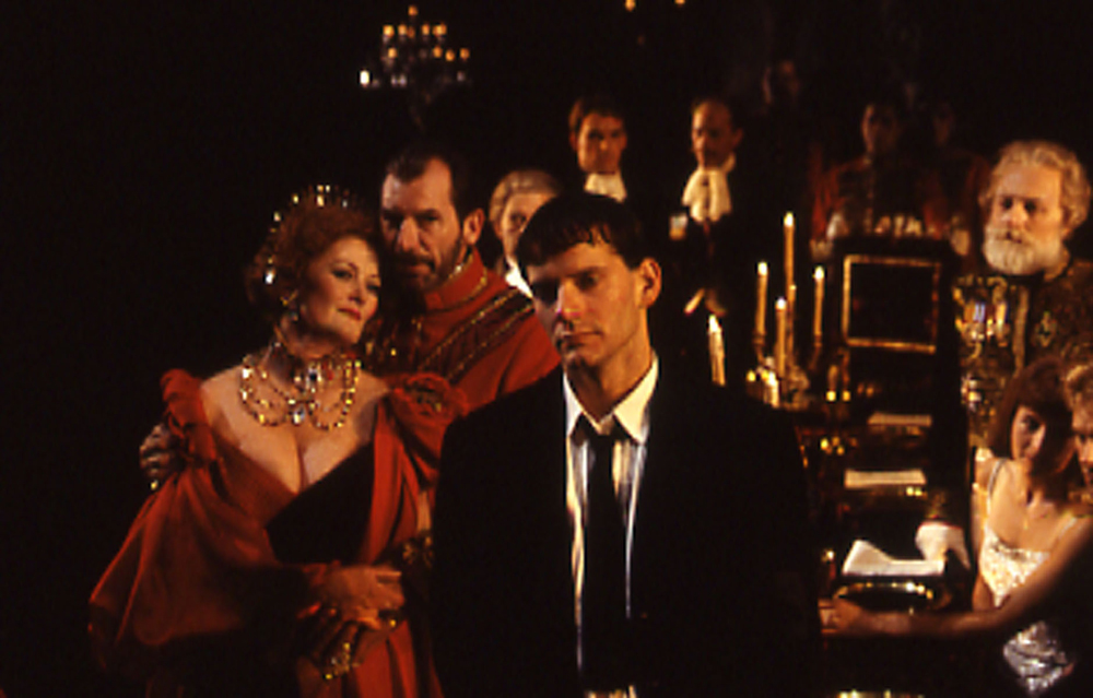 Campbell Scott with the cast of The Old Globe's 1990 production of Hamlet, directed by Jack O'Brien.