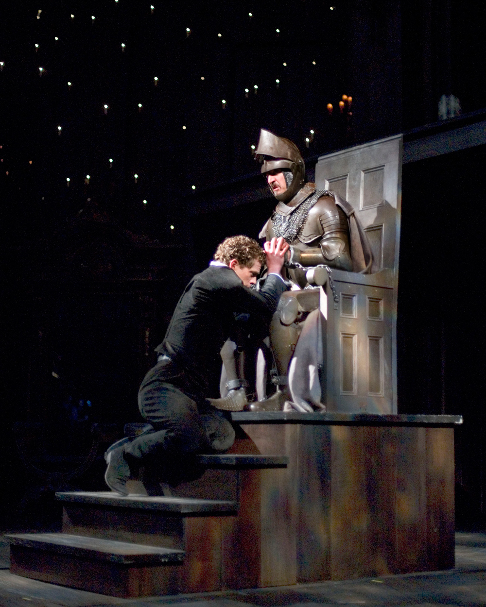 Lucas Hall and Bruce Turk in The Old Globe's 2007 production of Hamlet, directed by Darko Tresnjak. Photo by Craig Schwartz.