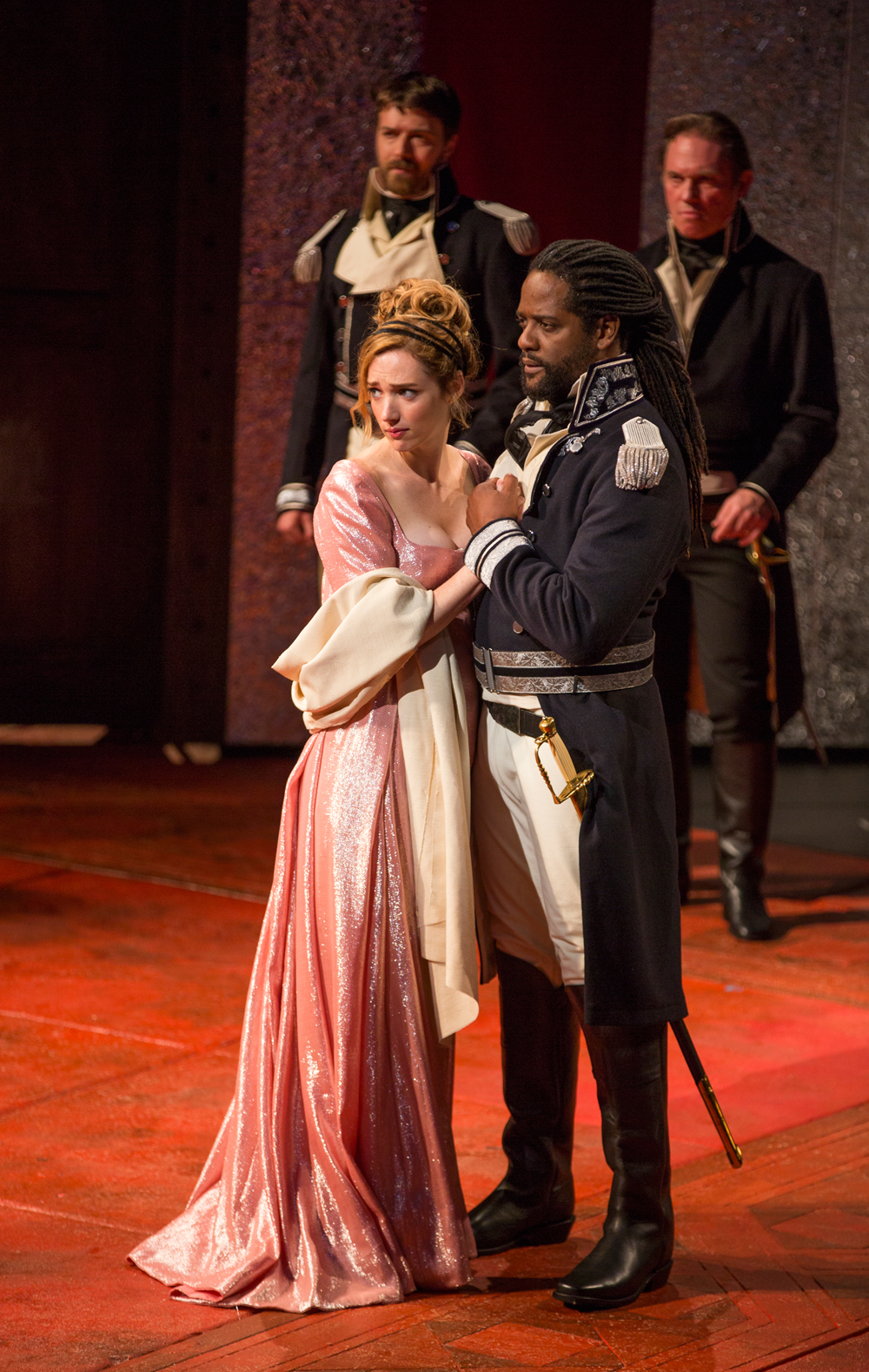 Kristen Connolly and Blair Underwood, with Noah Bean and Richard Thomas in The Old Globe's 2014 production of Othello, directed by Barry Edelstein. Photo by Jim Cox.