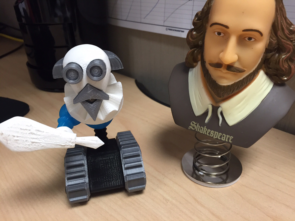"A Shakespeare Robot, a unique creation ""printed"" on the 3-D printer of the San Diego Public Library, in honor of the First Folio exhibition. Photo courtesy of the San Diego Public Library."