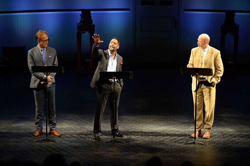 (from left) Mark Pinter, Blair Underwood, and Mike Sears joined a constellation of luminaries to perform in Shakespeare in America