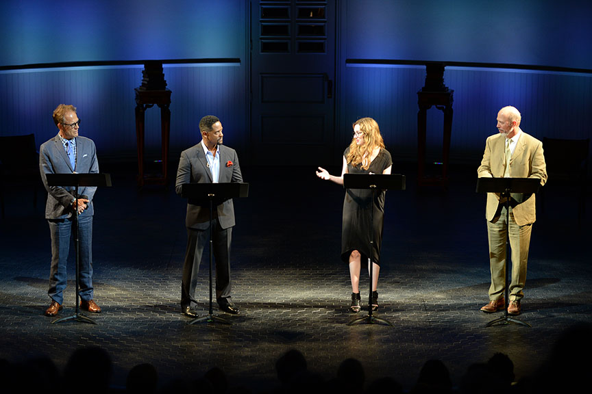 (from left) Mark Pinter, Blair Underwood, Kristen Connolly, and Mike Sears joined a constellation of luminaries to perform in Shakespeare in America