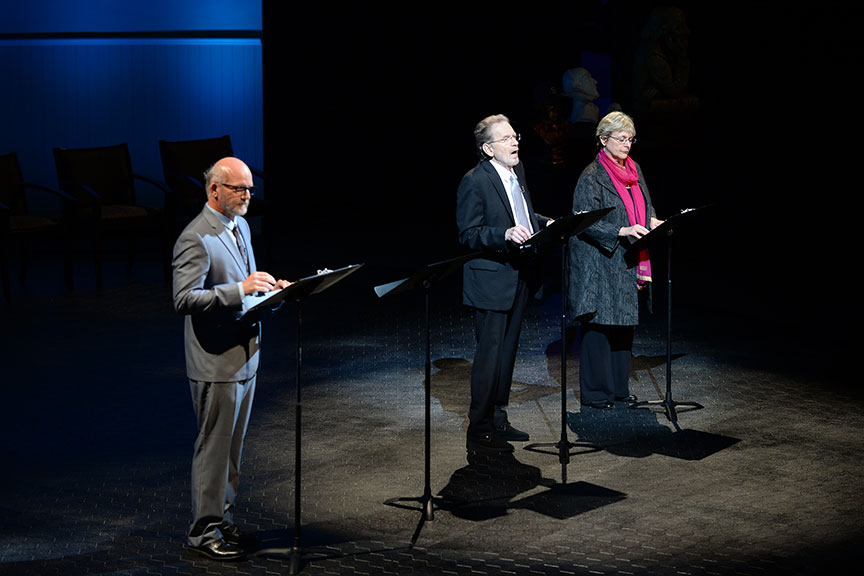 (from left) San Diego Union-Tribune theatre writer James Hebert and Old Globe Associate Artists Robert Foxworth and Deborah Taylor joined a constellation of luminaries to perform in Shakespeare in America