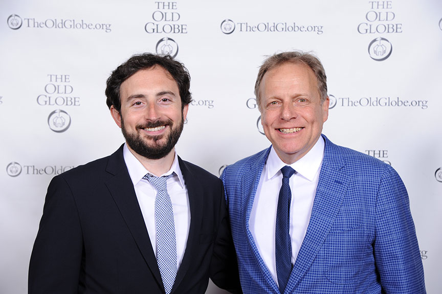 (from left) Jeremy McCarter and James Shapiro hosted Shakespeare in America, performed by a constellation of luminaries, at The Old Globe on June 4. The event kicked off the visit to San Diego of Shakespeare's First Folio. Photo by Douglas Gates.