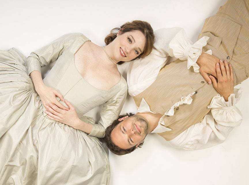 Kristen Connolly appears as the Princess of France and Jonny Orsini as Ferdinand, King of Navarre in William Shakespeare's Love's Labor's Lost