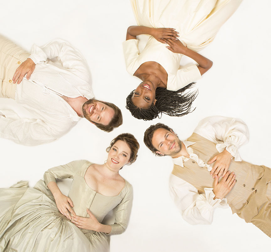 (from bottom left, clockwise) Kristen Connolly appears as the Princess of France, Kieran Campion as Berowne, Pascale Armand as Rosaline, and Jonny Orsini as Ferdinand, King of Navarre in William Shakespeare's Love's Labor's Lost