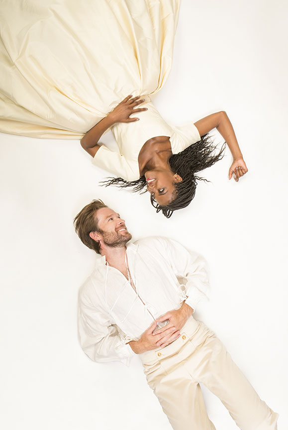 Kieran Campion appears as Berowne and Pascale Armand as Rosaline in William Shakespeare's Love's Labor's Lost