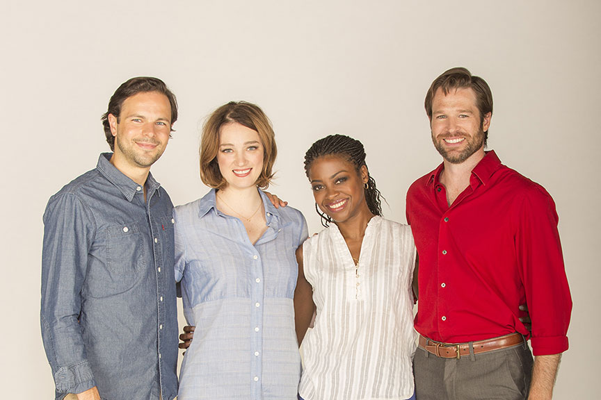 (from left) Jonny Orsini appears as Ferdinand, King of Navarre, Kristen Connolly as the Princess of France, Pascale Armand as Rosaline, and Kieran Campion as Berowne in William Shakespeare's Love's Labor's Lost