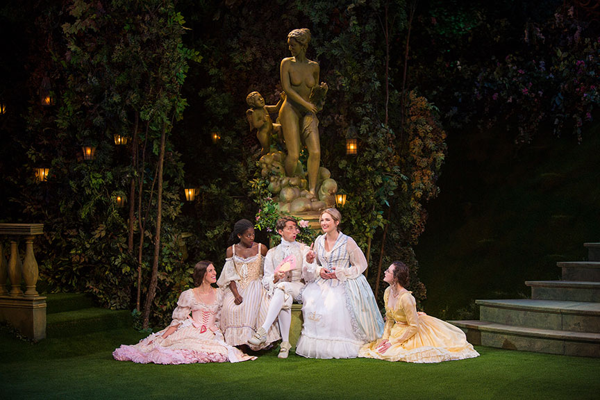(from left) Amy Blackman as Maria, Pascale Armand as Rosaline, Kevin Cahoon as Boyet, Kristen Connolly as Princess of France, and Talley Beth Gale as Katherine in William Shakespeare's Love's Labor's Lost, directed by Kathleen Marshall, running August 14 - September 18, 2016 at The Old Globe. Photo by Jim Cox.