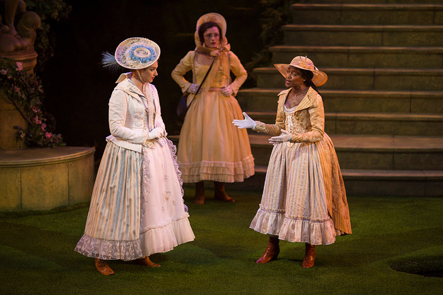 (from left) Kristen Connolly as Princess of France, Talley Beth Gale as Katherine, and Pascale Armand as Rosaline in William Shakespeare's Love's Labor's Lost, directed by Kathleen Marshall, running August 14 - September 18, 2016 at The Old Globe. Photo by Jim Cox.